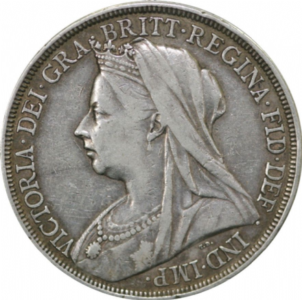 Victoria Old Head Silver Crown - Fine Condition